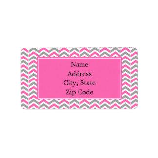 Hot Pink and Gray Chevron Pattern Address Label