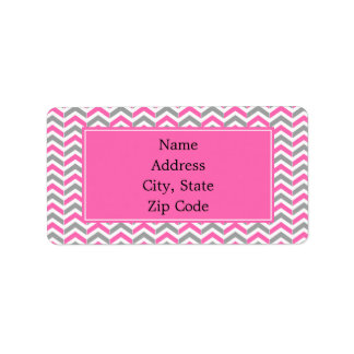 Hot Pink and Gray Chevron Pattern Label