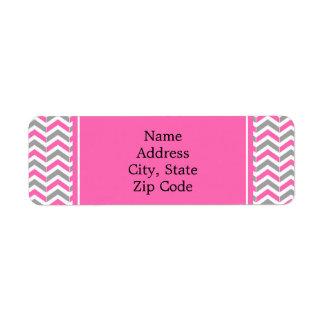 Hot Pink and Gray Chevron Pattern Return Address Label