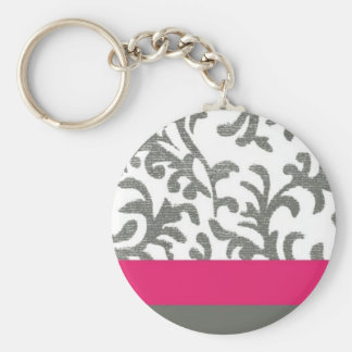 Hot Pink and Gray Floral Pattern Basic Round Button Key Ring