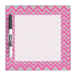 Hot Pink and Gray Zigzag Pattern Dry Erase Board