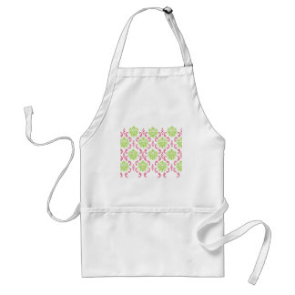 Hot Pink and Green Damask Adult Apron