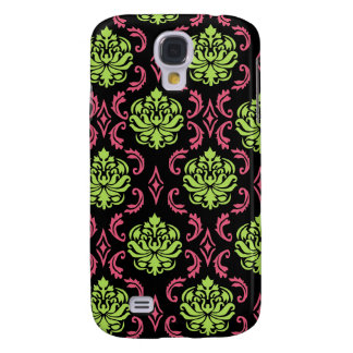 Hot Pink and Green Damask iphone 3 case