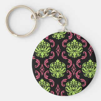 Hot Pink and Green Damask Keychains