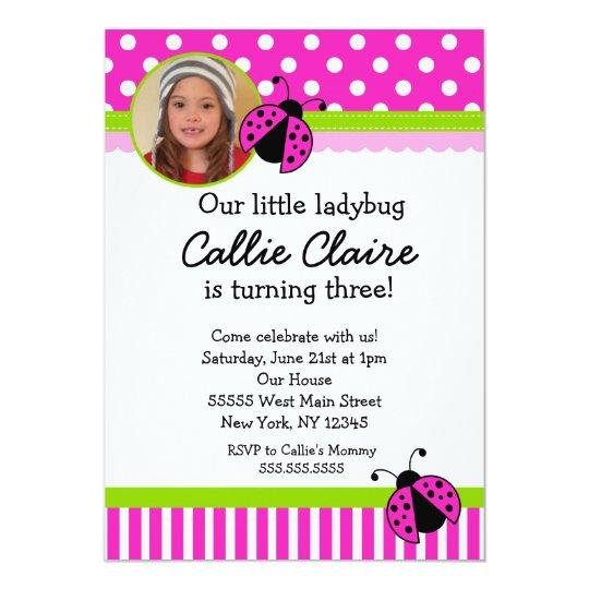 Hot Pink and Green Ladybug BIrthday Invitations