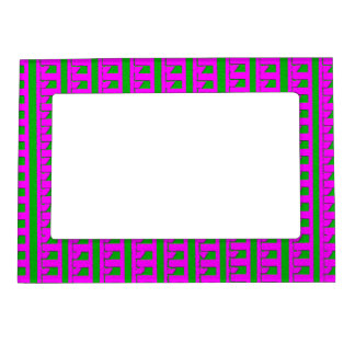 Hot Pink and Green Pattern Magnetic Frame