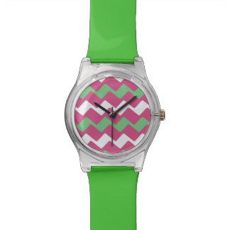Hot Pink and Green Wavy Chevron Watch