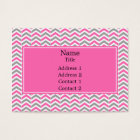 Hot Pink and Grey Chevron Pattern Business Card