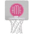 Hot Pink and Grey Chevrons Custom Monogram Mini Basketball Hoop