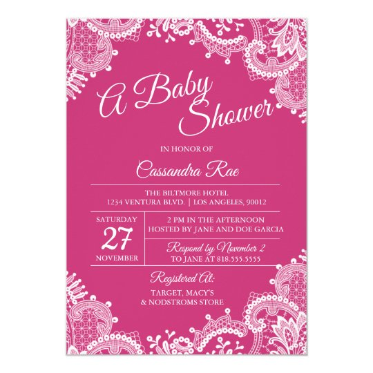 Hot Pink and Lace Baby Shower Invitation