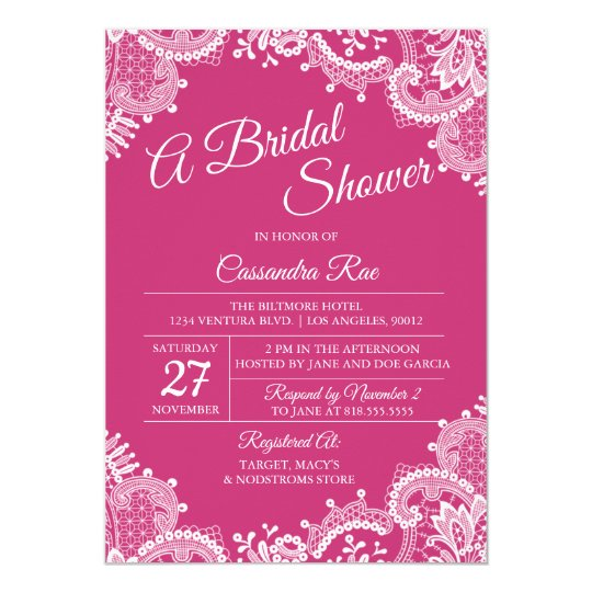 Hot Pink and Lace Bridal Shower Invitation