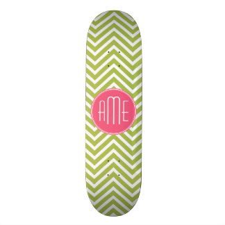 Hot Pink and Lime Chevron Pattern with Monogram Skate Decks