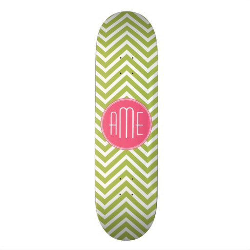 Hot Pink and Lime Chevron Pattern with Monogram Skateboard