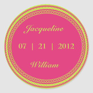 Hot Pink and Lime Geen Fluorescent / Neon Labels Round Sticker