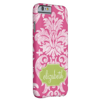 Hot Pink and Lime Girly Damask Pattern Barely There iPhone 6 Case