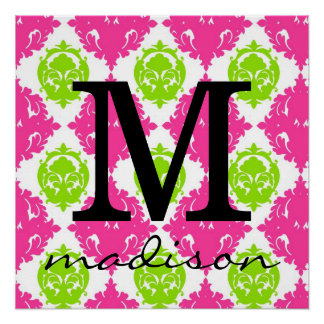 Hot Pink and Lime Green Damask Monogram Print
