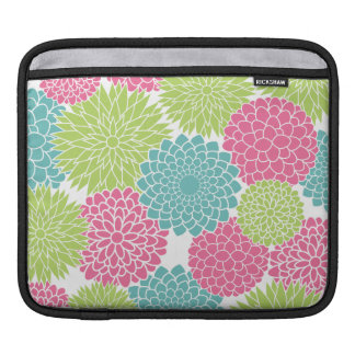 Hot Pink and Lime Green Flowers Pattern iPad Sleeves