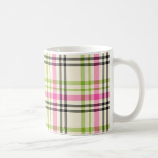 Hot Pink and Lime Green Vintage Plaid Basic White Mug