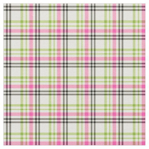 Hot Pink and Lime Green Vintage Plaid Fabric