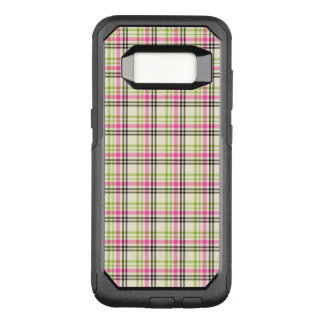 Hot Pink and Lime Green Vintage Plaid OtterBox Commuter Samsung Galaxy S8 Case