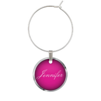 Hot Pink and Metallic Chrome Trim | Personalize Wine Charms