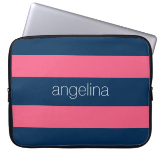 Hot Pink and Navy Modern Rugby Stripes with Name Laptop Sleeve