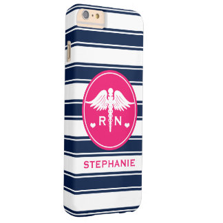 HOT PINK AND NAVY STRIPE CADUCEUS NURSE RN BARELY THERE iPhone 6 PLUS CASE