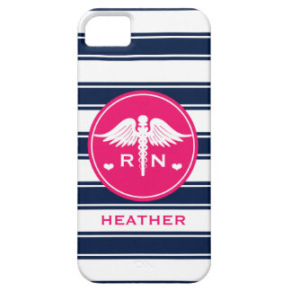 HOT PINK AND NAVY STRIPE CADUCEUS NURSE RN iPhone 5 CASES