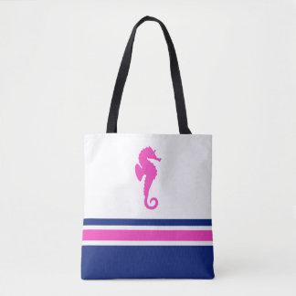 Hot Pink and Navy Stripes Sea Horse Nautical Tote Bag