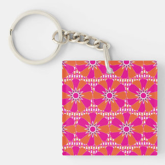 Hot Pink and Orange Bright Flower Pattern Double-Sided Square Acrylic Keychain