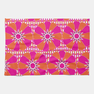 Hot Pink and Orange Bright Flower Pattern Tea Towel
