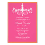 "Hot Pink and Orange Chandelier Invitation 5.5"" X 7.5"" Invitation Card"