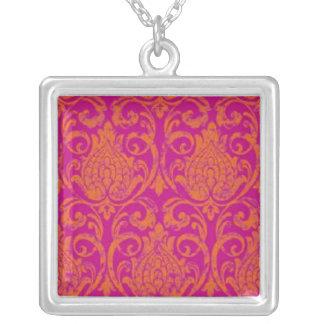 Hot Pink and Orange Damask Necklace