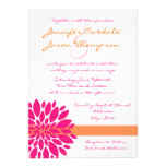 Hot Pink and Orange Flower Wedding Invitations