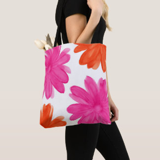 Hot Pink and Orange Watercolor Flowers Tote Bag