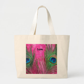 Hot Pink and Peacock Feathers Large Tote Bag
