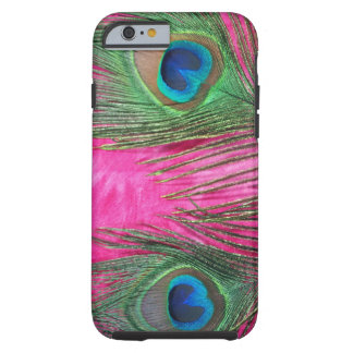 Hot Pink and Peacock Feathers Tough iPhone 6 Case