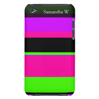 Hot Pink and Purple Tonal Stripes Modern Design iPod Touch Cases