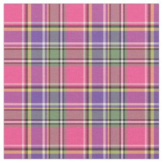 Hot Pink and Purple Vintage Plaid Fabric