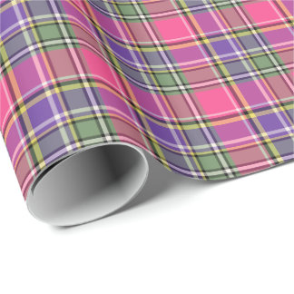 Hot Pink and Purple Vintage Plaid Gift Wrap Wrapping Paper