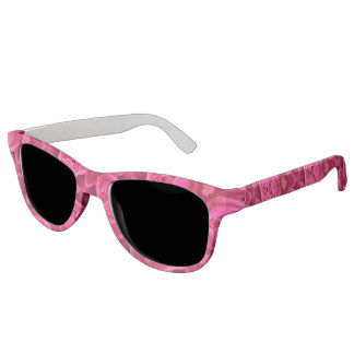 Hot Pink and Red Floral Abstract Rose Pattern Sunglasses