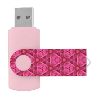 Hot Pink and Red Floral Abstract Rose Pattern USB Flash Drive
