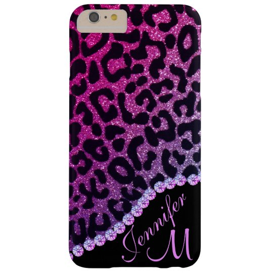 Hot Pink and Rhinestone Leopard Glitter Monogram Barely