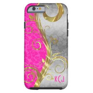 Hot Pink And Silver Damask Gold Swirls Tough iPhone 6 Case