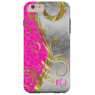 Hot Pink And Silver Damask Tough iPhone 6 Plus Case