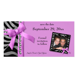 Hot Pink And Silver Zebra Gems Save The Date Card Photo Card Template