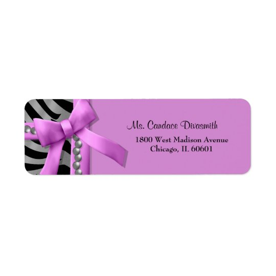 Hot Pink And Silver Zebra Stripe With Silver Gem