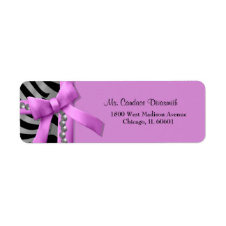 Hot Pink And Silver Zebra Stripe With Silver Gem Return Address Label