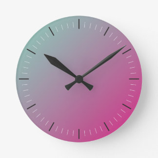 HOT PINK and TEAL | abstract Round Clock