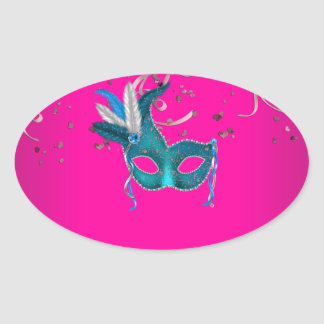 Hot Pink and Teal Blue Masquerade Oval Sticker